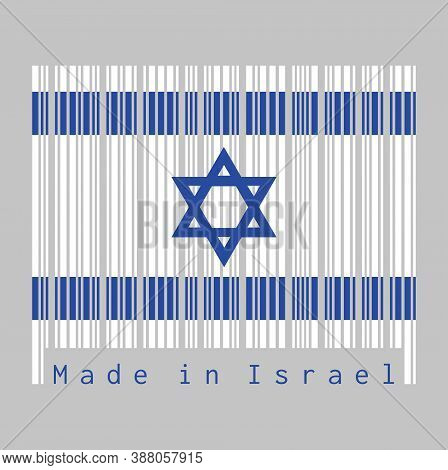 Barcode Set The Color Of Israel Flag, Blue Hexagram On A White Background, Between Two Blue Stripes.