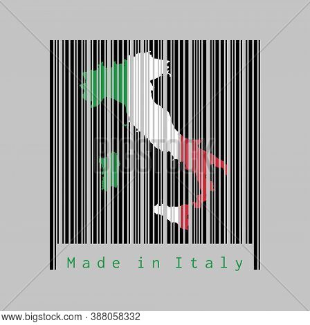 Barcode Set The Shape To Italy Map Outline And The Color Of Italy Flag On Black Barcode With Grey Ba