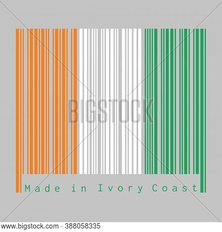 Barcode Set The Color Of Ivory Coast Flag, A Vertical Tricolor Of Orange, White And Green. Text: Mad