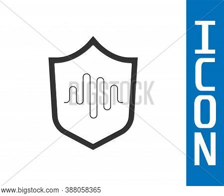 Grey Shield Voice Recognition Icon Isolated On White Background. Voice Biometric Access Authenticati