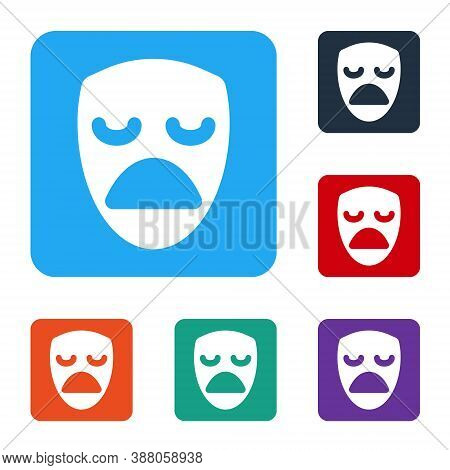 White Drama Theatrical Mask Icon Isolated On White Background. Set Icons In Color Square Buttons. Ve