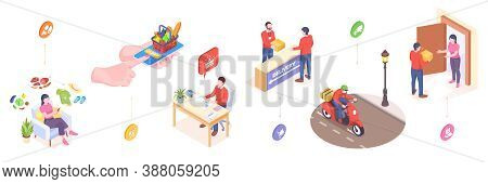 Delivery And Online Orders Service, Isometric Or Flat Icons Of Fast Food In Mobile Phone Delivery. O