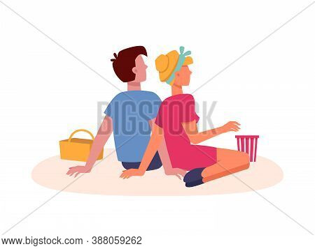 Couple Sitting On Picnic, Dating And Looking Forward From Back Behind, Flat Isolated. Couple Man And