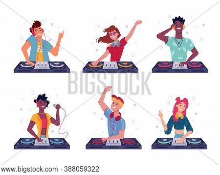 Set Of Isolated Dj At Turntable. Party Man And Woman Play At Disco. Cartoon Male And Female With Hea