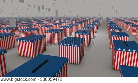 Usa Election, 3d Generated Illustration Of Votes Falling Into Ballot Boxes In American Flag Colors S