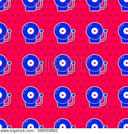 Blue Ringing Alarm Bell Icon Isolated Seamless Pattern On Red Background. Alarm Symbol, Service Bell