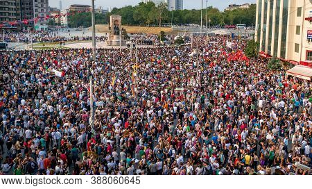 Istanbul, Turkey - June 2013: Turkish People Protesting Government In Taksim Square. Sign Says We Wa