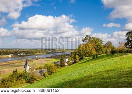 Chaumont-sur-loire, France: October 18, 2019:scenic View Of The Loire Valley And River In Autumn Col