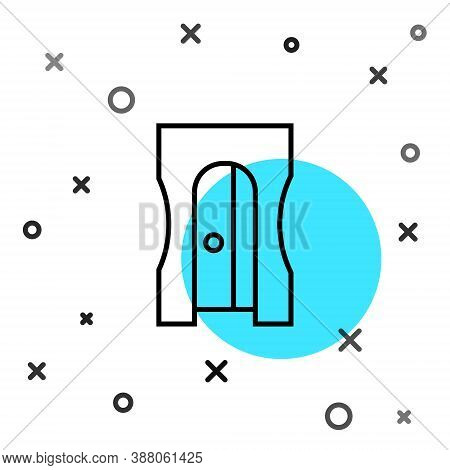 Black Line Pencil Sharpener Icon Isolated On White Background. Random Dynamic Shapes. Vector Illustr