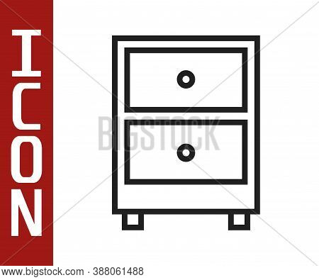 Black Line Drawer With Documents Icon Isolated On White Background. Archive Papers Drawer. File Cabi