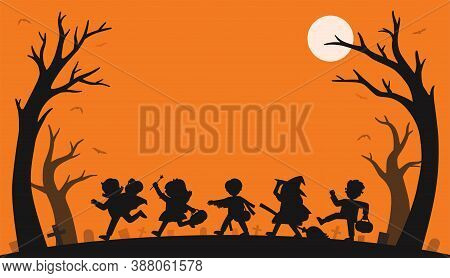 Silhouette Of Children In Halloween Fancy Dress To Go Trick Or Treating.template For Advertising Bro