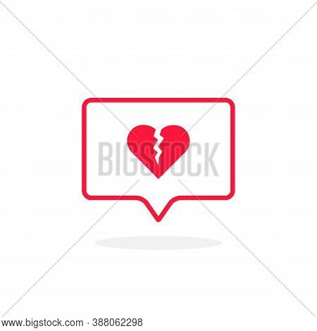 Broken Heart Like Thin Red Instant Message. Concept Of Split In Relationship And Unloved Or Loveless