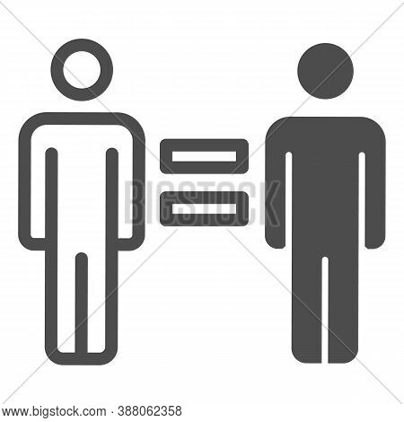 Equality Of Whites And Blacks Line Icon, Black Lives Matter Concept, Equal People Blm Sign On White