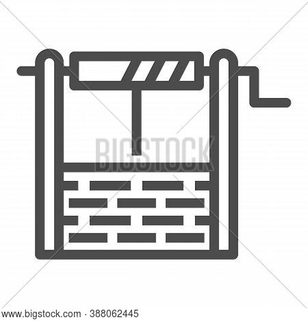 Water Well Line Icon, Garden And Gardening Concept, Draw-well Sign On White Background, Well Icon In