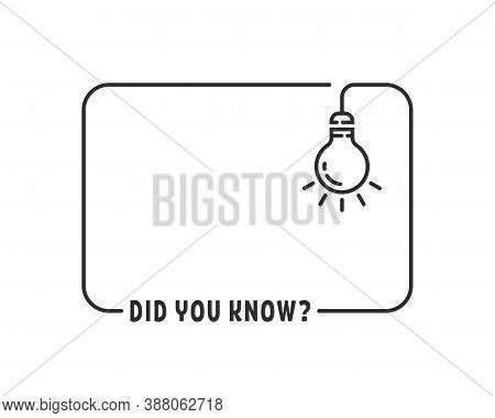 Did You Know With Hanging Bulb. Flat Stroke Trendy Modern Minimal Dyk Logo Graphic Art Black Design