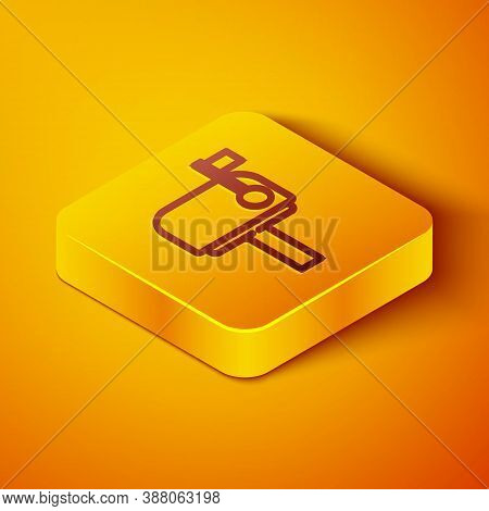 Isometric Line Mail Box Icon Isolated On Orange Background. Mailbox Icon. Mail Postbox On Pole With