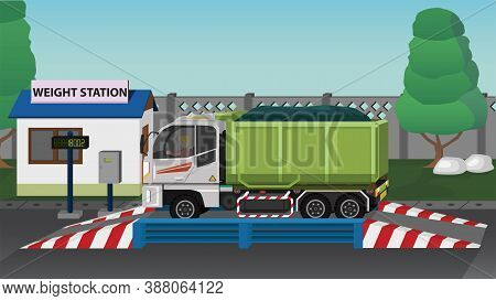 Dangerous Garbage Truck On The Weighing Scale At The Checkpoint. Before And After Transport Operatio