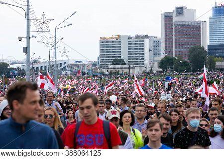 Minsk, Belarus - September 20 2020: Peaceful Protests In Belarus. People At A Protest In Belarus. St