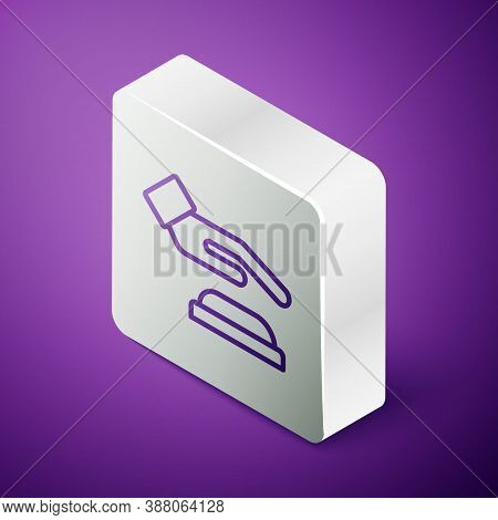 Isometric Line Palm Print Recognition Icon Isolated On Purple Background. Biometric Hand Scan. Finge