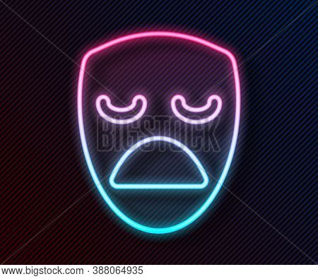 Glowing Neon Line Drama Theatrical Mask Icon Isolated On Black Background. Vector