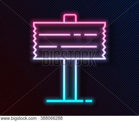 Glowing Neon Line Road Traffic Sign. Signpost Icon Isolated On Black Background. Pointer Symbol. Str