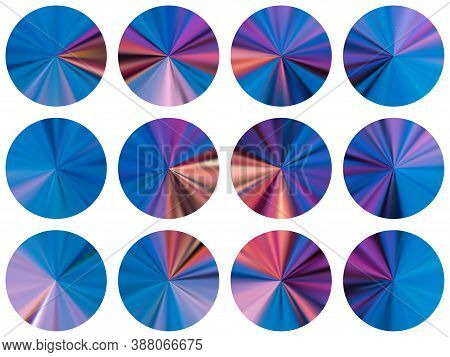 Blue Round Metallic Gradient Ui Button Elements Vector Collection. Isolated Soft Medal Shapes. Banne