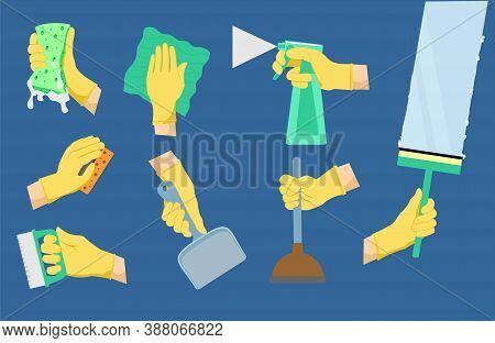 Cleaning Icons. Cleaning Tools With Hands. House Holding Equipment In Rubber Glove Hand, Detergent S