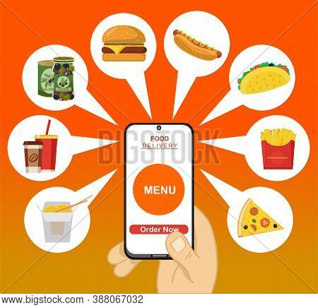 Concept For Food Delivery Service. Onboarding Screens Design In Food Delivery Concept. Modern And Si