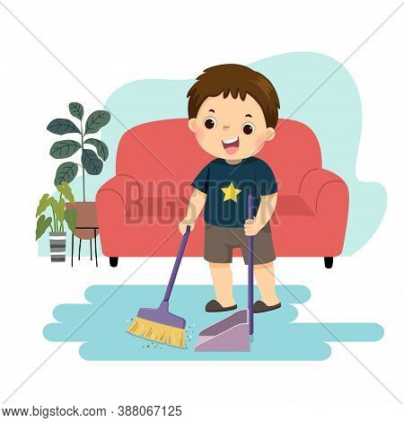 Vector Illustration Cartoon Of A Little Boy Sweeping The Floor. Kids Doing Housework Chores At Home