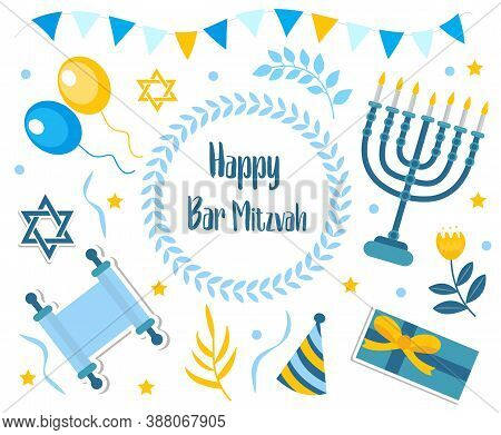 Happy Bar Mitzvah Set. Collection Of Design Elements For Jewish Holiday Birthday With Menorah, Torah