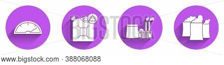 Set Speedometer, Eco Fuel Canister, Oil Industrial Factory Building And Oil Industrial Factory Build