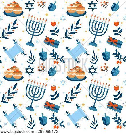 Happy Hanukkah Seamless Pattern. Hanukkah Jewish Holiday Repeating Texture, Endless Background. Vect