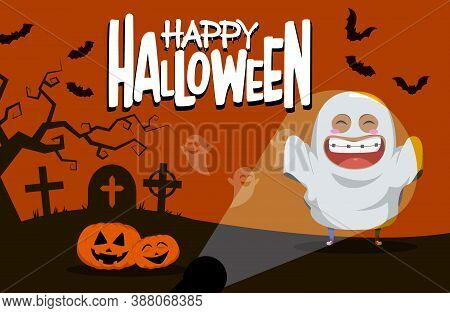 Halloween Ghost Character Vector Background Design. Happy Halloween Text With Cute Ghost In Horror C