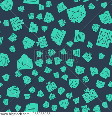 Set Drawer With Document, Outgoing Mail, Outgoing Mail And Monitor And Envelope On Seamless Pattern.