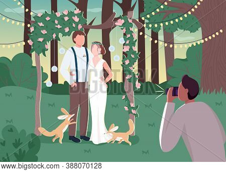 Newlywed Couple In Rustic Photozone Flat Color Vector Illustration. Rural Wedding Ceremony. Photogra
