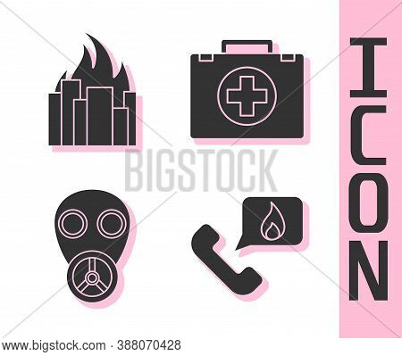 Set Telephone With Emergency Call 911, Fire In Burning Buildings, Gas Mask And First Aid Kit Icon. V