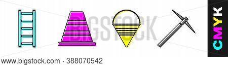 Set Fire Escape, Traffic Cone, Fire Cone Bucket And Pickaxe Icon. Vector