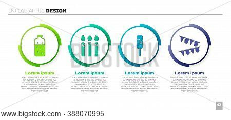 Set Mulled Wine, Birthday Cake Candles, Ice Cream And Carnival Garland With Flags. Business Infograp