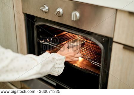 Woman Wearing Oven Mitt Putting Baking Sheet With Raw Cookies Into Modern Oven In Home Kitchen