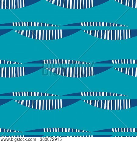 Abstract Mono Print Style Modern Foliage Seamless Vector Pattern Background. Simple Lino Cut Effect
