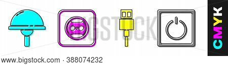 Set Light Emitting Diode, Electrical Outlet, Usb Cable Cord And Electric Light Switch Icon. Vector
