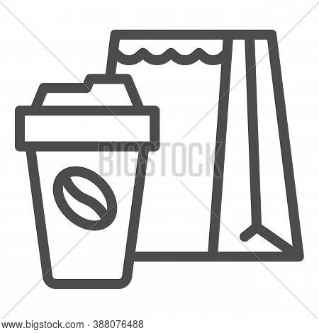 Cup Of Coffee And Package Line Icon, Coffee Time Concept, Take Away Food Package Sign On White Backg