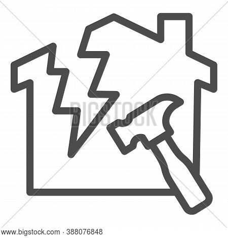 House With A Crack And Hammer Line Icon, House Repair Concept, Reconstruction Sign On White Backgrou