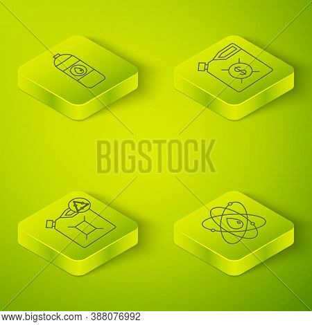 Set Isometric Canister For Motor Machine Oil, Eco Fuel Canister, Atom And Canister For Motor Machine
