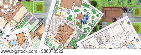 Landscaping. Garden Design. Illustration Of Garden Plots Plans.