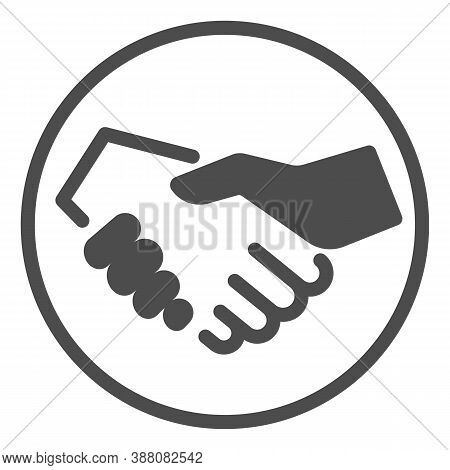 White And Black Handshake Line Icon, Black Lives Matter Concept, Business Partners Greeting Sign On