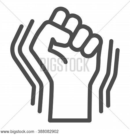 Raised Fist Gesture Line Icon, Black Lives Matter Concept, Human Hand Up Blm Sign On White Backgroun