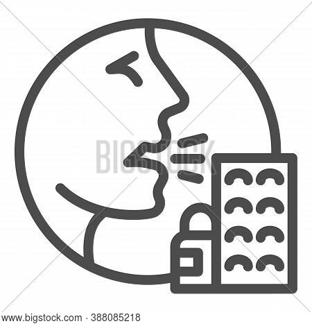 Person With Drugs Allergy Symptoms Line Icon, Allergy Concept, Allergy To Medicines And Pills Sign O