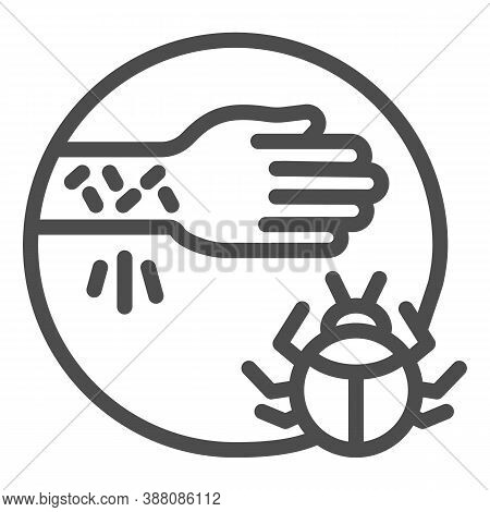 Hand With Irritate Skin And Beetle Line Icon, Allergy Symptoms Concept, Allergy To Beetles Sign On W