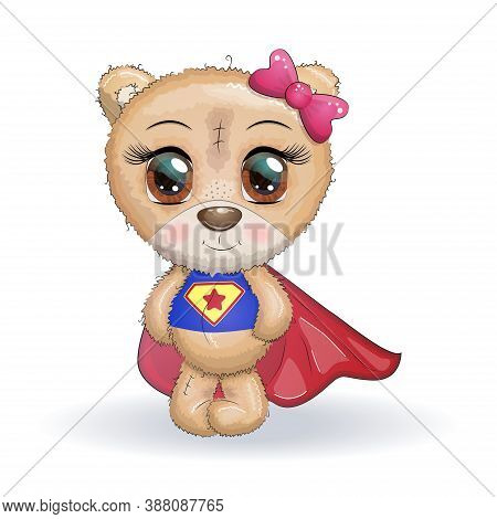 Cute Little Bear With Big Eyes In A Cloak By A Super Hero, Greeting Card Illustration.